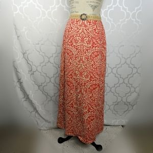 Vtg Hand Print Hawaiian Tribal Ethnic Maxi Skirt